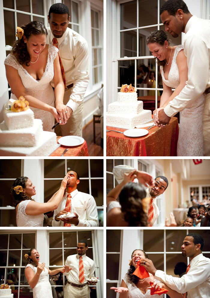 Cake cutting Kara + Stephen | Greensboro, NC Wedding