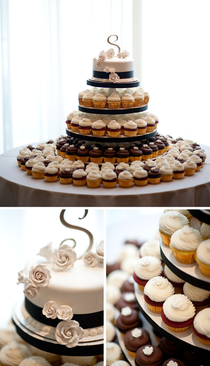 wedding cake cupcakes Kara + Stephen | Greensboro, NC Wedding