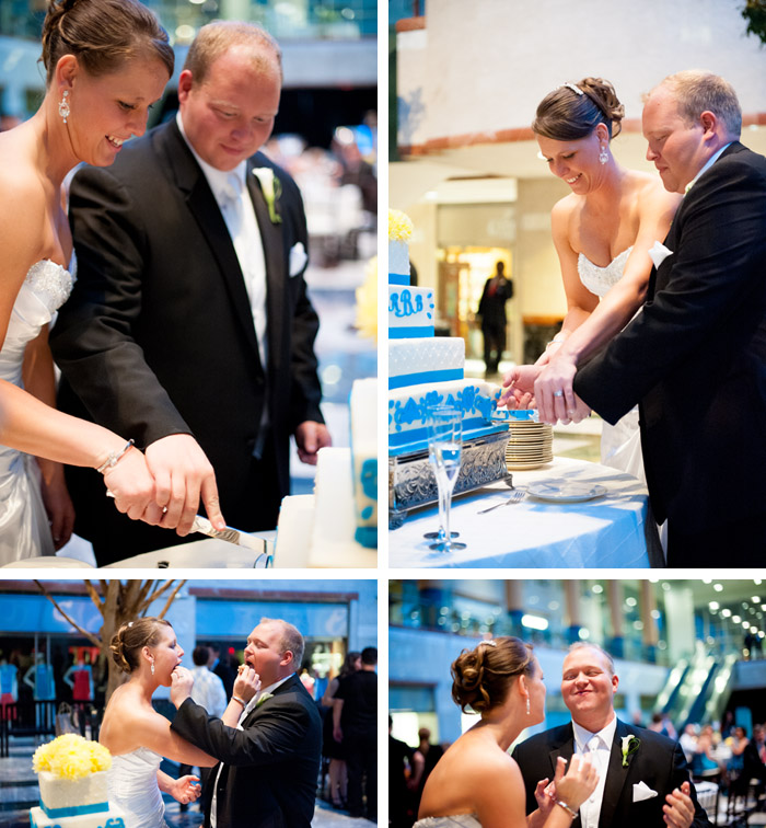 cutting cake Rebecca + Blair | Charlotte, NC Wedding
