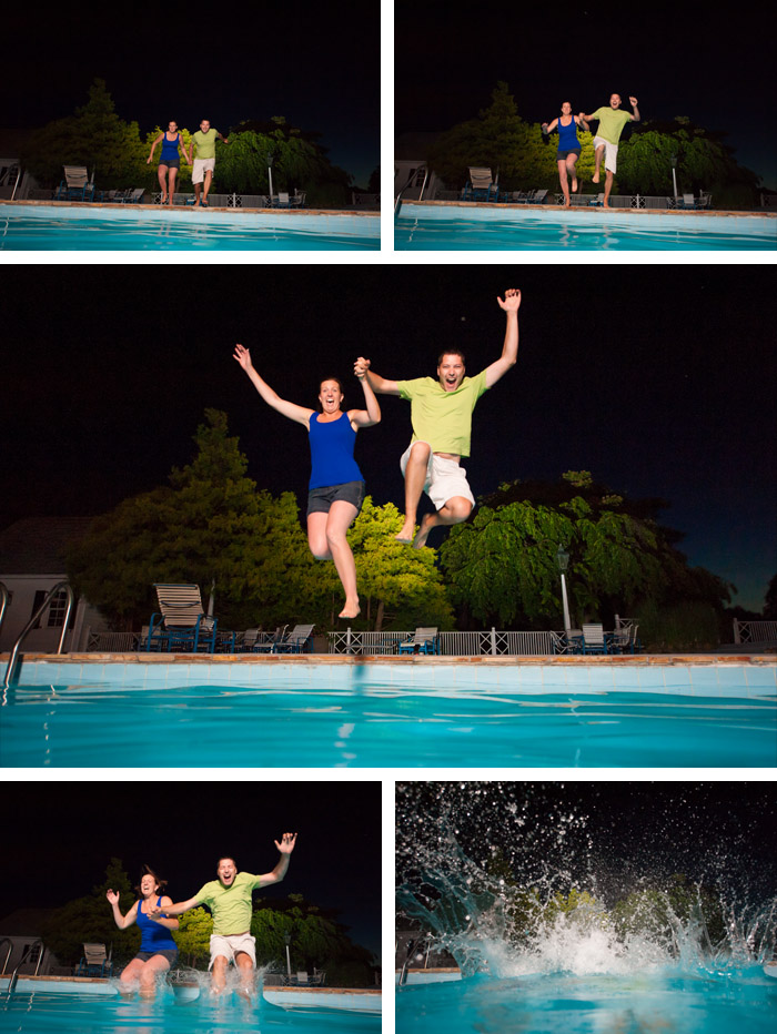 pool jump Cindy + Per | Nashville, NC Engagement