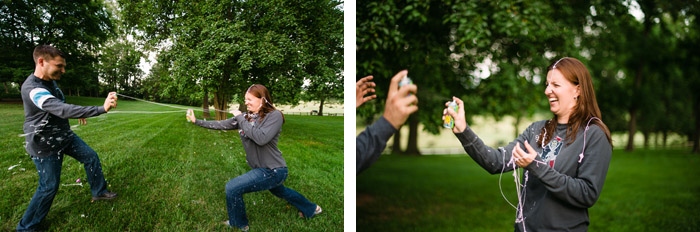 silly string engagement Cindy + Per | Nashville, NC Engagement