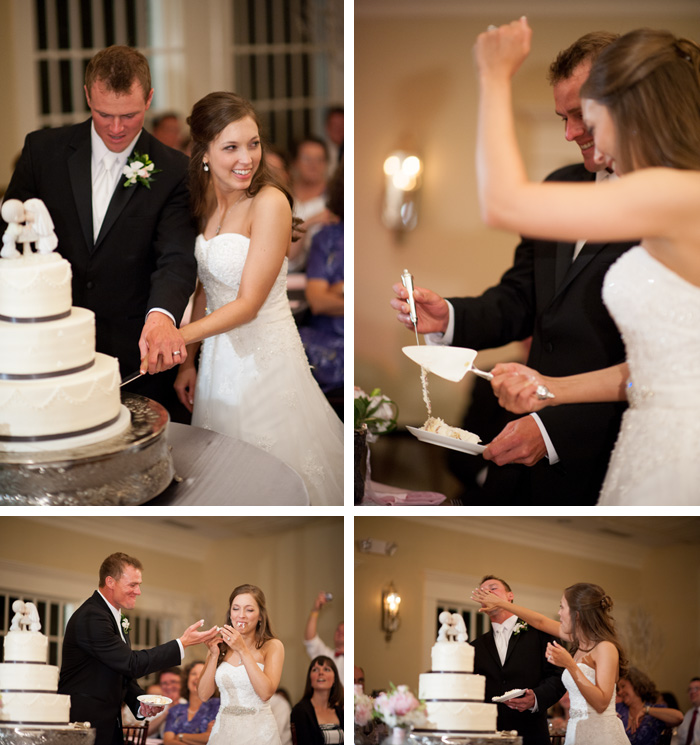 cake cutting Tiffany & John | Fuquay Varina, NC Wedding