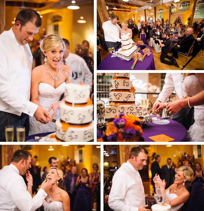 cake cutting Stacey + Patrick | Greensboro, NC Wedding